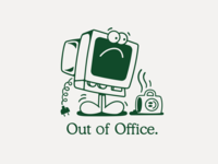 Out of Office vector branding logo apparel graphics clothing apparel character linework 2d illustration