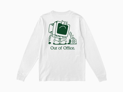 Out of Office tshirt sweatshirt graphic design vector branding logo apparel graphics clothing apparel character linework 2d illustration