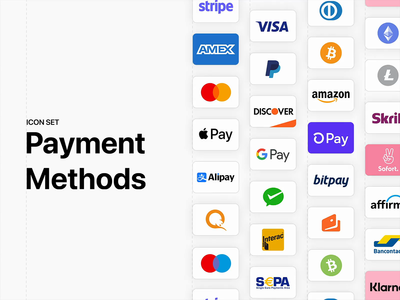 Payment Methods - Figma Community File ux ui figmadesign icon set creditcard checkout card ecommerce payment figma icons freebie