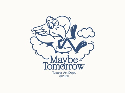 Maybe Tomorrow logo branding typography linework character illustration 2d