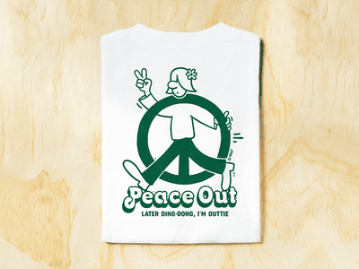 Peace Out character logo branding clothing brand apparel graphic design sweatshirt t-shirt illustration t-shirt illustration