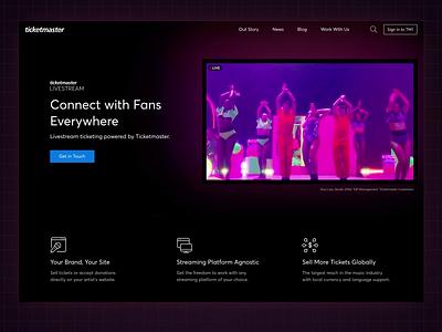 Ticketmaster Livestream product design music ticketmaster livestream landing page ux ui