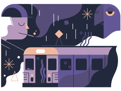 Ghost Train (wip) casually unimpressed haze smoke pigeon 80s nyc train wip poster illustration