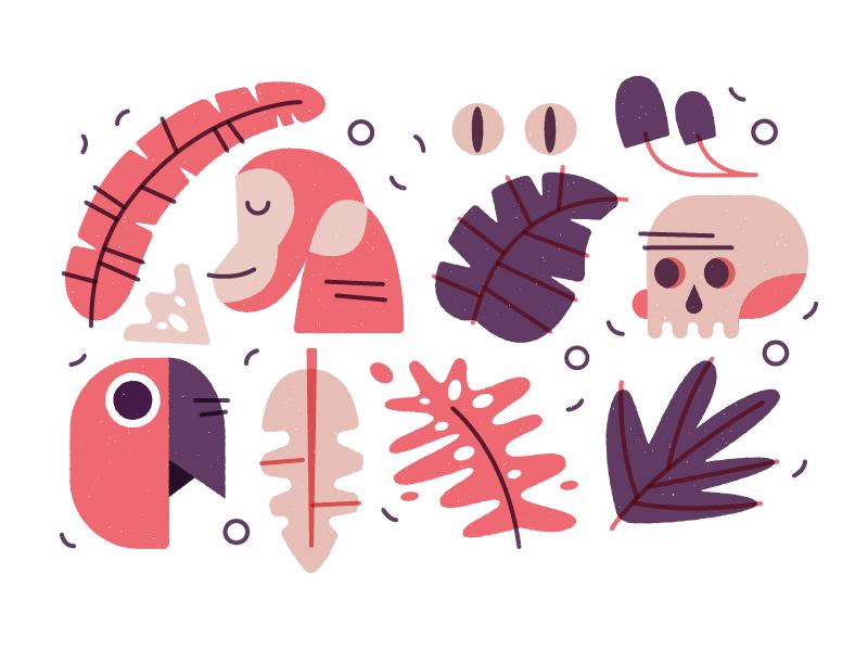 Jungle Fresh illustrator texture linework plants monkey jungle pattern icons illustration