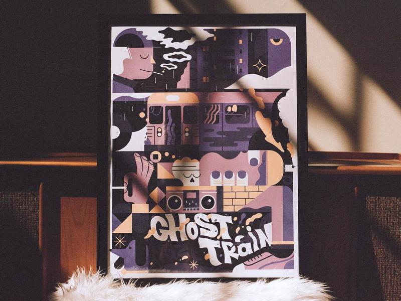 Ghost Train Haze smoke ghost skull newyork hiphop illustrator line linework illustration