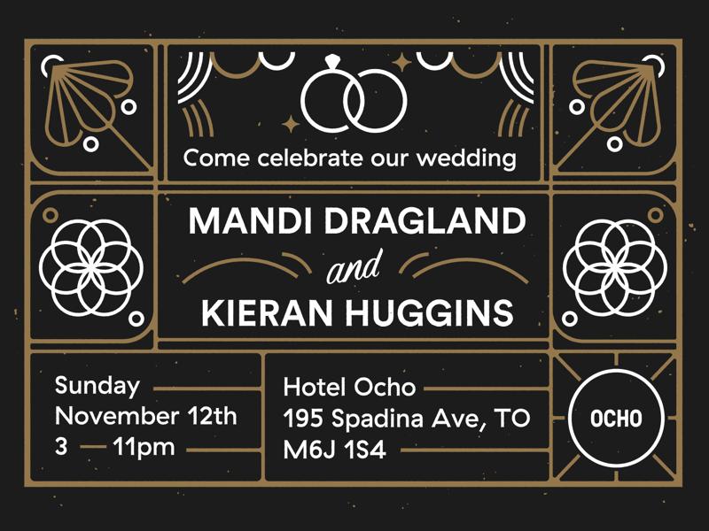 K&M wedding invite typography invite illustration linework print card icons