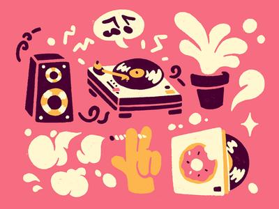 Summertime Chill doughnuts record fun illustration hiphop jdilla