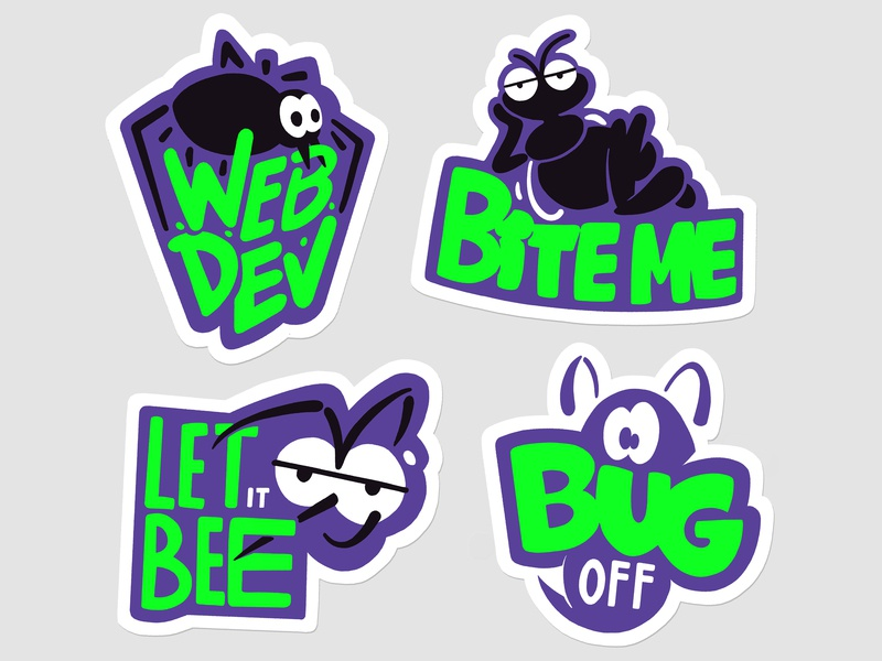 Bugathon stickers hand lettering typography 2d illustration computers stickerset fun bugs lettering stickers 90s