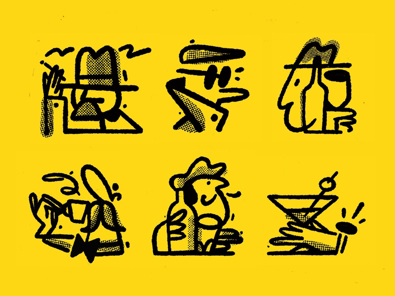 Kino vino i domino procreate doodle branding 2d linework character illustration
