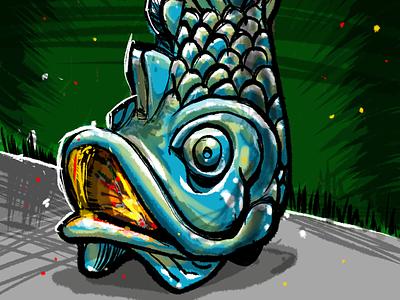 late night sketch: fish chiminea procreate app illustration