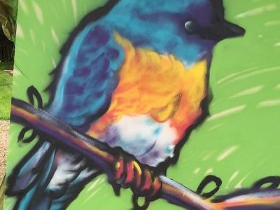 Bluebird with Spray Paint