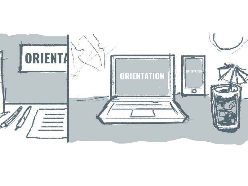 Online Orientation illustration web sketch