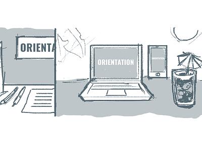 Online Orientation illustration web sketch