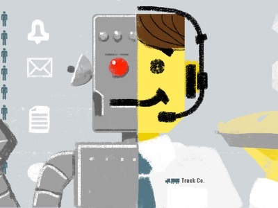 Automation & Apple Pie in the Recruiting Department pie robot illustration