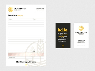 Invoice / Bill Pad design with identity and business cards