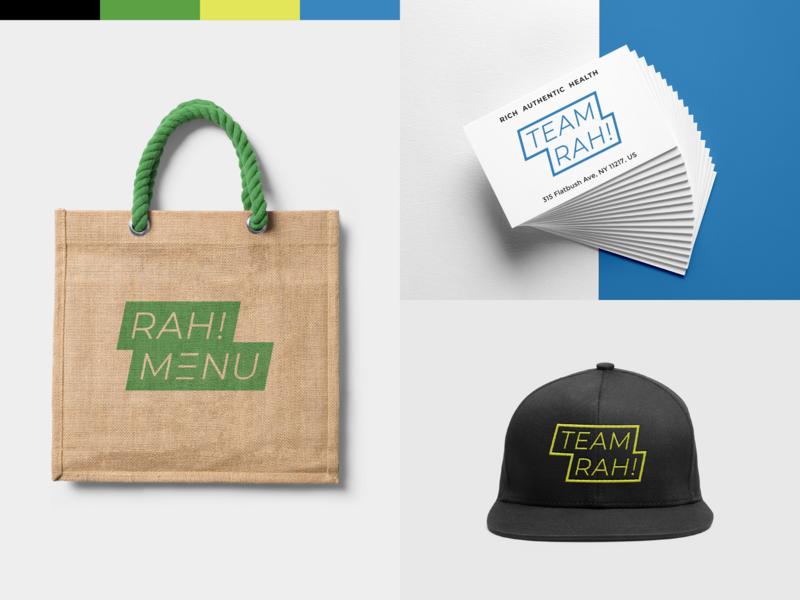 RAH! snapback hat bag branding identity mockup branding design menu team design logotype color logo branding