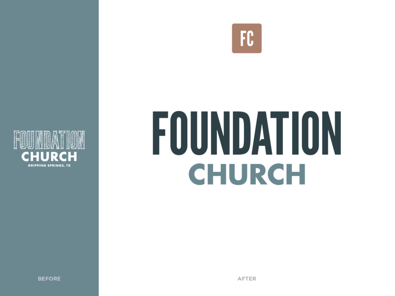 Foundation Church before and after rebrand church branding austin foundation church icon logo lockup logotype branding design