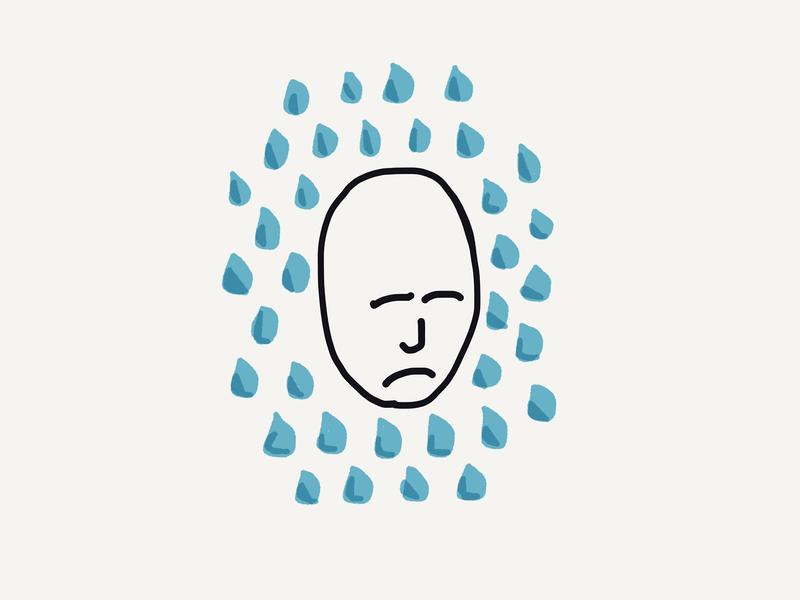 Mood paper 53 paper sad face sad mood rain water iconography icon artwork illustration icon color design