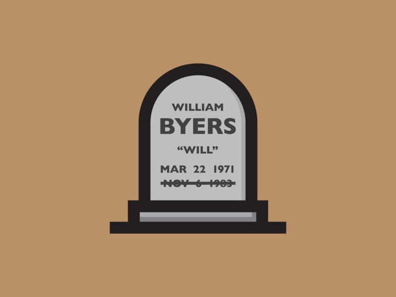 Will Byers headstone gravestone stranger things byers will vector illustration icon design