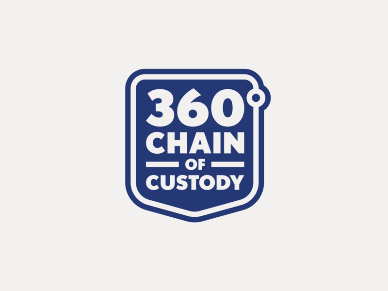 360° Chain of Custody vector law legal 360 degree badge shield design illustration branding