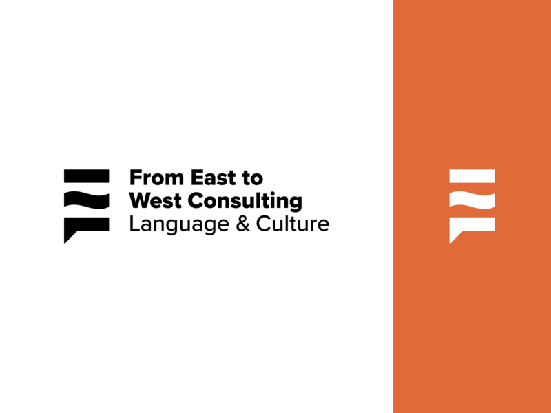 From East To West Language & Culture Consulting mark icon symbol language logomark mark typography lockup logotype logo vector icon