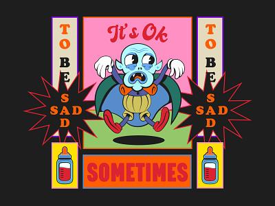 Nosferatu baby vampire tells you it's okay character retro design pop art sad baby vampire poster design mid-century mid century midcentury 40s 30s lowbrow retro 1930s vintage 1930 old school old cartoon cartoon character
