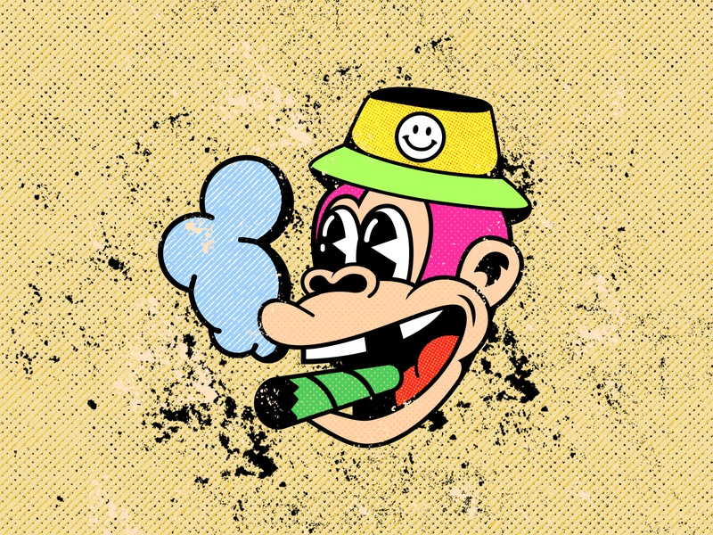 monkey fred monkey logo monkey weed texture 90s vintage inspired pop art cool design 1930s 1930 vintage old school old cartoon