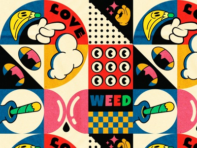 love weed💚 happy chill drugs lowbrow art cannabis smoke weed psychedelic cool design pattern