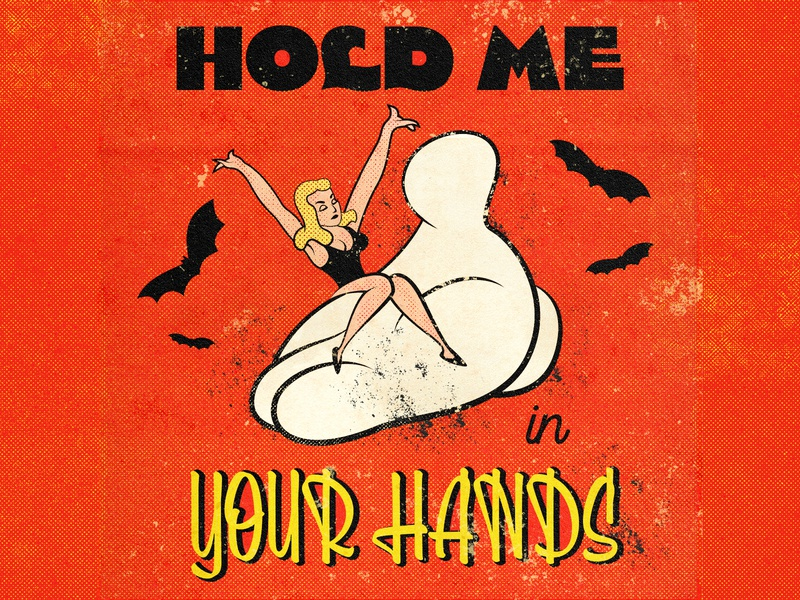 hold me in your hands vintage illustration love hand woman mid-century mid century midcentury 1940s 1940 40s 30s vintage inspired retro illustration old school old cartoon retro 1930s 1930 vintage