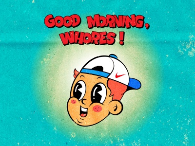 good morning! nike vintage inspired happy boy good morning whore slut 1940s 1940 40s texture 30s lowbrow cool design retro 1930s 1930 vintage old school old cartoon