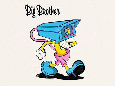 Big Brother walking happy lowbrow art lowbrow character design vintage inspired 1940s 90s camera big brother fun 40s 30s vintage cool design 1930s 1930 cartoon character old school old cartoon