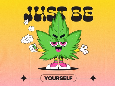 Don't be a copy 🤺 hippy cartoon character illustration art 90s marijuana clean weed logo canabis weed lowbrow cartoon cool design character retro illustration 1930s vintage 1930 old cartoon