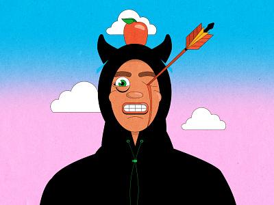 The apple of my eye 🍎 old school arrow music album flat illustration satan devil eyeball cool design cartoon character illustration insane weird crazy sky apple character design slowthai