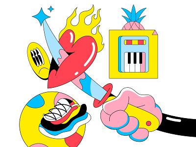 You break my heart 🤡💖🗡 design cartoon lowbrow weird synth synthwave sneaker flat illustration flat  design cartoon illustration pattern emoji heart knife 90s icons web illustration illustration