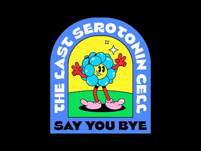 SEROTONIN CELL cartoon character 1930s old school logo design logo cartoon logo cell rubber hose rubberhose mascot mascot logo mascot character vintage inspired logotype cool logo sticker vector branding vintage