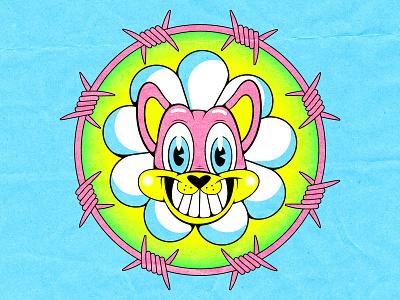 Cat Flower print tshirt design crazy cuphead lowbrow flower cat 1930 illustration vintage 1930s old cartoon cartoon character old school