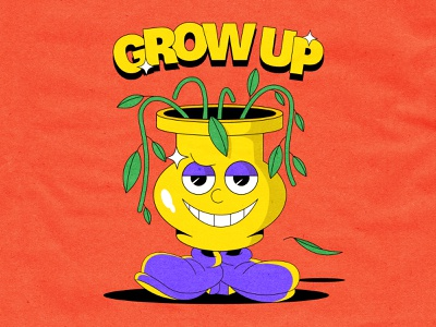 Grow Up motivation cuphead cool design 90s positive retro pop culture grow up flower 1930 old school old cartoon illustration 1930s vintage cartoon character