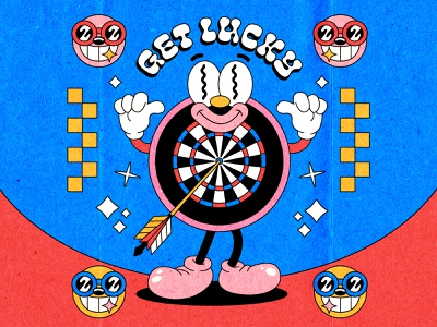 Get Lucky print tshirt cuphead lowbrow pop culture illustration lucky target darts rubber hose 90s 1990 30s 1930 1930s vintage old cartoon cartoon character old school