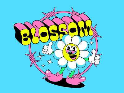 Blossom T-shirt design chill 90s 1990 pop culture cuphead retro happy print tshirt design merch flower 1930 old cartoon illustration 1930s vintage cartoon character old school