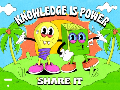 """The Thinkific """"Knowledge is power. Share it."""" challenge! cartoon challenge 1930 1930s vintage old cartoon pop culture learning motivation chill summer 90s thinking power knowledge thinkific bulb book cartoon character illustration"""