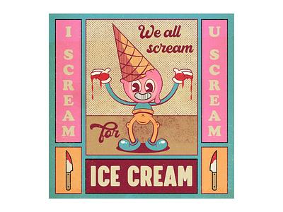 ICE CREAM KILLA pop art ice cream texture old cartoon fun cartoon character character cartoon vector adobe illustrator draw illustration