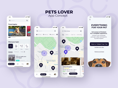 Pets Lover App | Designflows 2020 pets ui inspiration design contest app