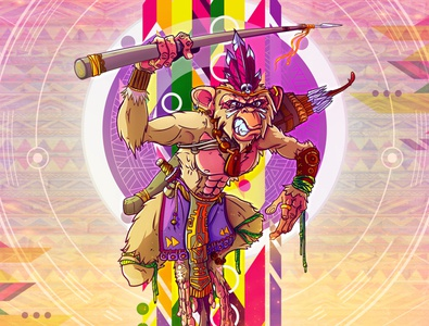 Bass Monkey storytelling game art character design spiritual psychedelic awaken illustraion conceptart
