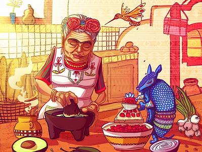 Frida Never Died, She makes me Guacamole vegan design vegan storytelling game art character design spiritual psychedelic awaken illustraion conceptart