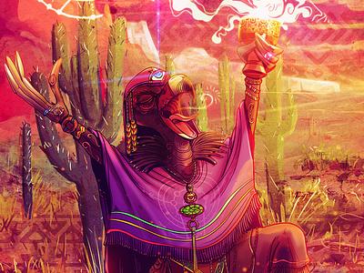 Vulture Shaman Portal of Light-Love vegan illistration game art character design spiritual psychedelic awaken illustraion conceptart