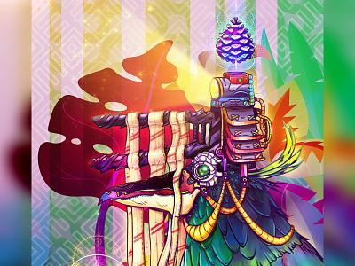 Bird of Vlogging Days Past vegan illustration vegan design vegan storytelling game art character design spiritual psychedelic awaken illustraion conceptart