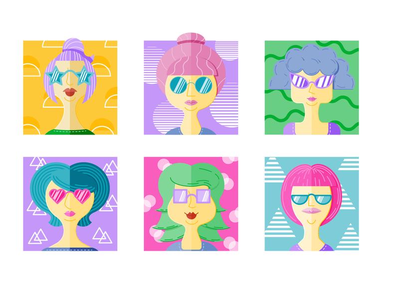 Summer Girls colorful web character design vector illustration design