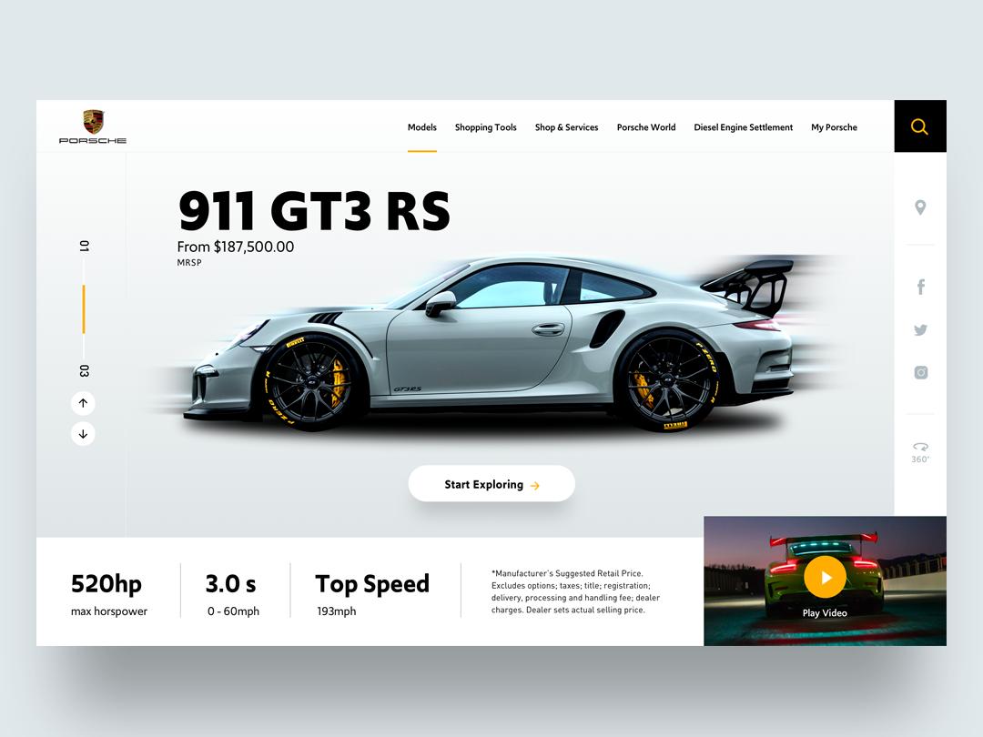 Porsche 911 UI Concept uidesign sketchapp ux user interface design web user interface uiux design ui