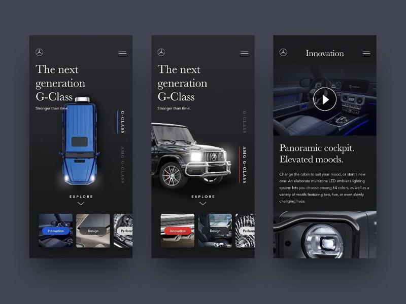 Mercedes Benz G-Class UI Concept ui design user experience user interface ui
