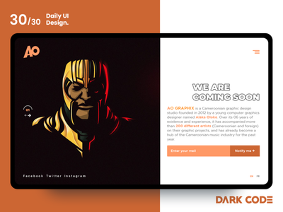 Dark Code Daily UI 30 - Day 30 dailyui30 orange coming soon page comingsoon design concept graphiste website dribbble end ux designer interface design dailyui ux ui design darkcode dark-code uiux design design dark code interface